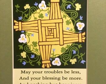 Saint Brigid's Cross Matted Print