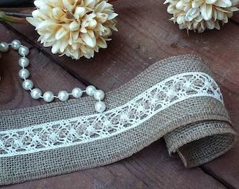 Jute Ribbon - Burlap and Lace ribbon -  Rustic Burlap Ribbon - Wedding Ribbon - Wedding Decor - Wedding Accessory - Rustic Wedding Decor