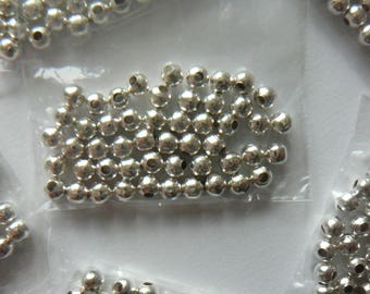 Spacers x 50 silver 4 mm silver metal beads