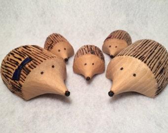Hand Carved Hedgehog Family of 5