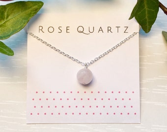 Rose Quartz Necklace, Sterling silver rose quartz pendant, Pink crystal necklace, Crystal necklace, Gemstone necklace, Rose quartz jewelry