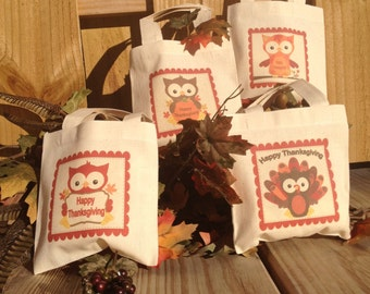 Thanksgiving Owls Treat Favor Bags Mini Cotton Totes Children Kids Guests Thanksgiving Favor Treat Gift Bags - Set of 4