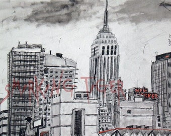 New York Art Print: New York Skyline featuring New Yorker and the Empire State Building, 11X14
