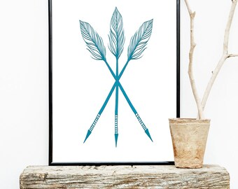 Turquoise ARROW Wall Art Graphic Print for Boy Nursery 8x10 or 11x14