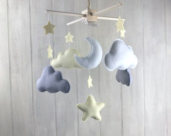Cloud mobile - baby mobile -  grey and yellow mobile - baby crib mobile - nursery mobile - hanging mobile - cloud and star baby mobile