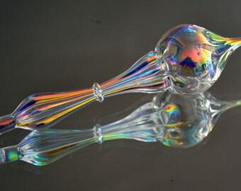 Rainbow Iridescent Ornament, Dichroic Ornament, Gorgeous Suncatcher, Hand Blown Ornament, Glass Art Suncatcher, Graceful Ornament