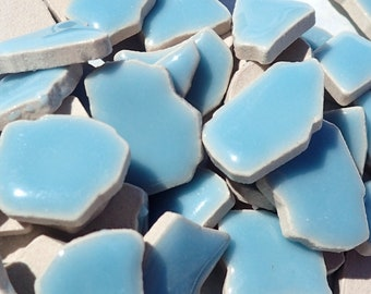 Light Blue Mosaic Ceramic Tiles - Jigsaw Puzzle Shaped Pieces - Half Pound - Assorted Sizes Random Shapes - Mosaic Art Supplies - Azure