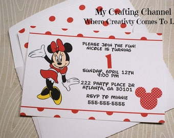 Set of 12 Red Minnie Mouse #2 Birthday Invitations With Matching Envelopes,Invites,Invitations,Birthday,Birthday Invitations