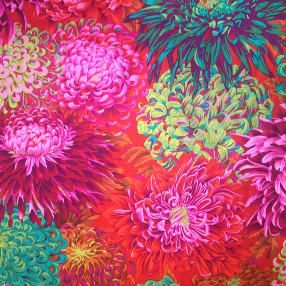 JAPANESE CHRYSANTHEMUM SCARLET Red Philip Jacobs Kaffe Fassett Collective Sold in 1/2 yd increments