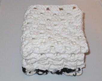 Set of Three Wash Cloths Black and White