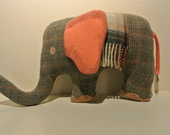 Elephant Pillow, Upcycled/Repurposed Fabric