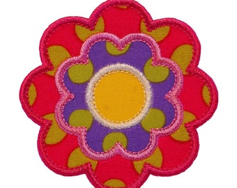 """Flower Power Appliques Machine Embroidery Designs Applique Pattern in 4 sizes 3"""", 4"""", 5"""" and 6"""""""