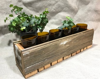 Rustic Barnwood Centerpiece Candle Holder Rustic Home Decor Reclaimed Wood Box Recycled Glass Planter