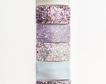 WINTER glitter / leather / suede snap clip or alligator clip