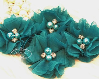 NEW: 4 pcs Aubrey TEAL Green / Jade - Soft Chiffon with pearls and rhinestones Mesh Layered Small Fabric Flowers, Hair accessories