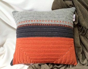 Orange, Dark and Light Grey Pure Wool Cushion Cover