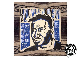 Blind Willie Johnson blues folk art painting on wood by Grego of mojohand.com - outsider art, Blues music gifts