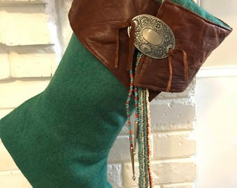 Hip Wool and Leather Stocking with a Southwestern Flavour!
