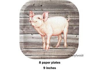 pig plates, farm birthday party paper plates, barn wedding, piglet, rustic tableware, farm animals, agricultural, rural, barn wood, barnwood