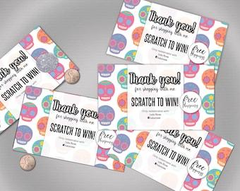 Halloween Scratch Off Card - 5 cards, fully customizable sugar skulls