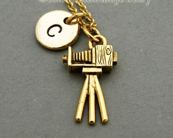 Studio Camera charm Necklace, old fashioned camera, vintage camera, initial necklace, hand stamped, personalized, monogram
