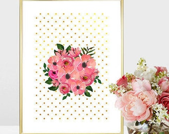 Printable art Digital Prints watercolor flowers love quotes