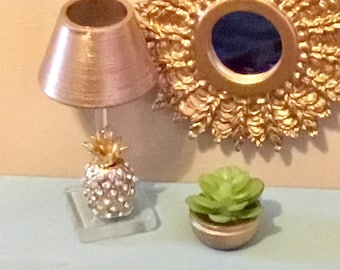 Dollhouse Miniature Succulent in Gold Bowl. 1:12 Scale