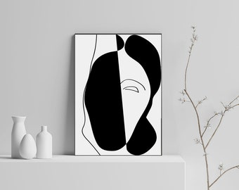 Single Line Art Print : Kiss print line drawing digital download one love art