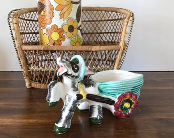 Vintage Kitsch Donkey and Cart Planter Retro Home
