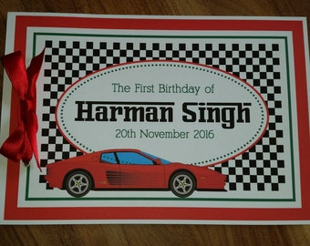 Ferrari Name Birthday Sign in Guest Book 1st First Birthday Custom Made Unique Personalized
