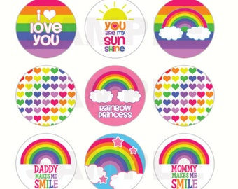 INSTANT DOWNLOAD - Rainbow Bottle Cap Images - 4x6 Digital Sheet - 1 Inch Circles for Bottlecaps, Hair Bow Centers, & More