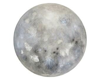 Luna 21 - Archival 8x10 Art Print - Contemporary Watercolor Painting - Astronomy, Full Moon - by Natasha Newton