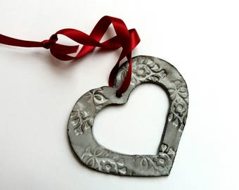 Large Handmade Ceramic Heart Ornament - Pendant