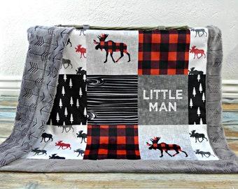 Buffalo Plaid Minky Baby Blanket - Buffalo Plaid Blanket Faux Quilt - Little Man Blanket - Lumberjack - Buffalo Check Baby Blanket Toddler
