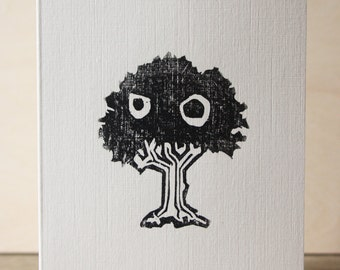 Grumpy Tree Woodcut Greetings Card
