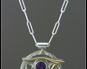 Egyptian pendant, eye of Horus necklace, third eye necklace, spiritual jewelry, solar necklace, handmade jewelry, egyptian jewelry, amethyst