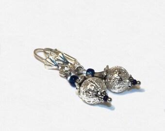 Blue Earrings, dangling earrings, seed bead earrings, Checz glass seed beads, blue, for women, elegant, spring, gift, comfortable to wear