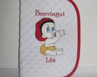 Welcome baby girl catalan (benvingut) embroidered health book, name, date of birth