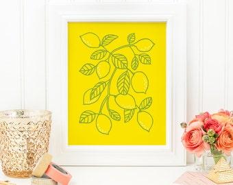 Lemon Art Print - Lemon No. 2 - 8x10 Print