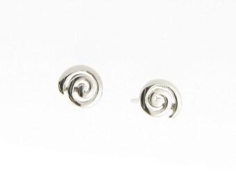 9ct White Gold Swirl Stud Earrings