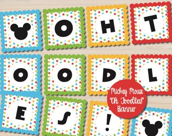 Mickey Mouse Oh Toodles - Oh Toodles Banner - Mickey Mouse Decorations - Mickey Mouse Clubhouse - Toodles Banner - Mickey Mouse Printables