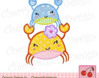 Crabs Machine Embroidery Applique Design-5x7 6x10 hoop