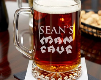 His Man Cave Personalized 15 oz Beer Mug - Groomsmen's Gifts - Holiday Gifts -Birthday Gifts - Father's Day Gift(JM6460764-12-53331)