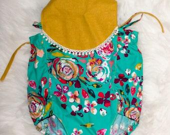 Girl Bubble - Baby Girl Romper - Bohemian Romper - Bohemian Bubble - Floral Bodysuit - Mustard Yellow - Toddler Bubble - Toddler Romper