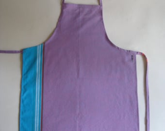 Kids Apron, Kikoy Apron in Purple and Aqua tones, Child Medium