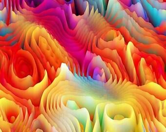 Rainbow Colors 3D Maze Handmade Velvet Upholstery Fabric Shimmer Fiber Art Fabric
