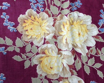 Yellow Rose Floral Bouquet Maroon Ground Vintage 1940s Cotton Curtain,  Cottage Chic, Retro Floral