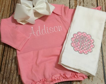 Monogrammed baby girl set, gown, bown, burp cloth, coming home outfit, newborn photos, pictures,