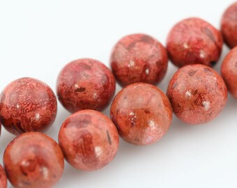14mm,Round Sponge Coral Beads,One Full Strand,Round Coral Beads,Coral Beads,Red Coral Beads,Gemstone Beads---30 Pieces--16.5 inches--BC007