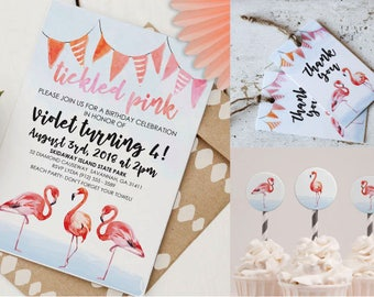Pink Flamingo Party Kit | Custom Pink Flamingo Invitation | Instant Download PDF | Flamingo Cupcake Toppers | Thank You Favor Tag
